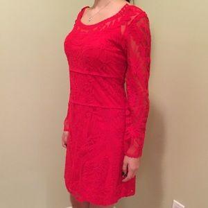 Embellished red dress.